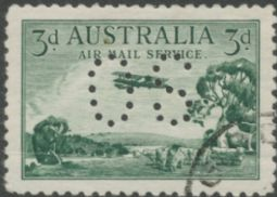 Australian Official Stamp (OS) SG O119h 1929 3d Airmail with horizontal mesh paper (AOG/374)